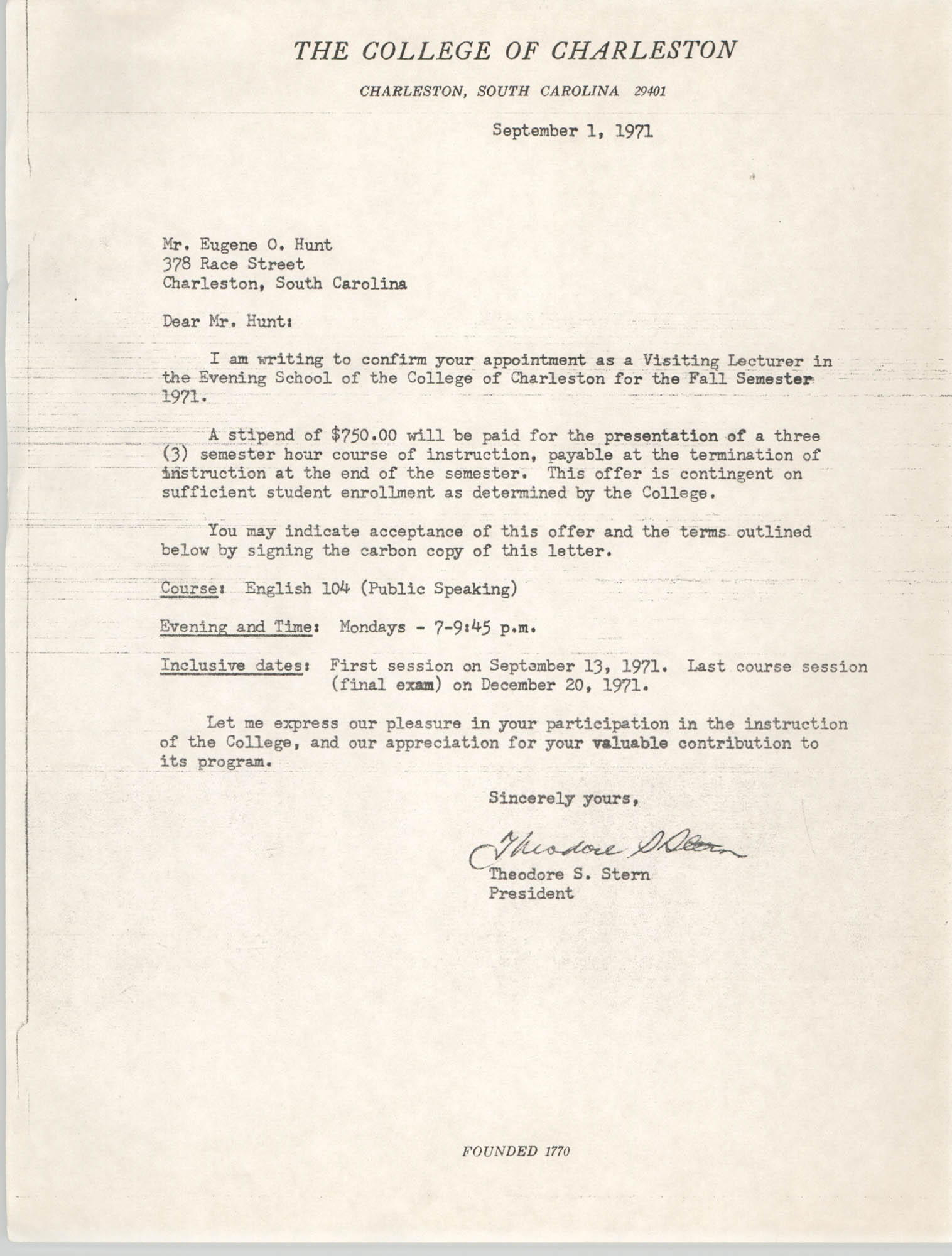 Letter from Theodore S. Stern to Eugene C. Hunt, September 1, 1971