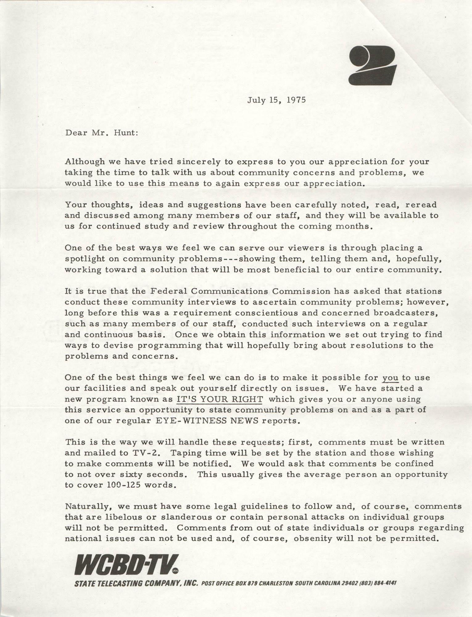 Letter from Carter C. Hardwick, Jr. to Eugene C. Hunt, July 15, 1975