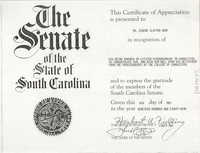 Certificate of Appreciation, Eugene Clayton Hunt, May 4, 1989