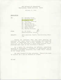 College of Charleston Memorandum, October 8, 1985