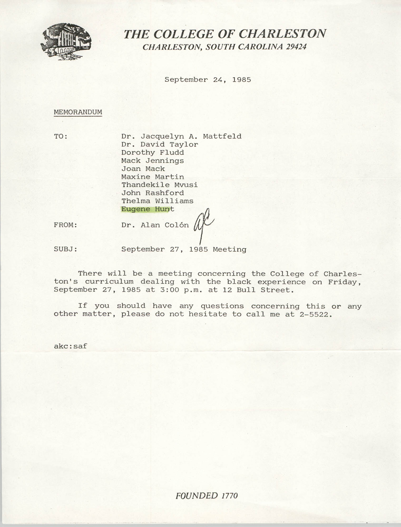 College of Charleston Memorandum, September 24, 1985