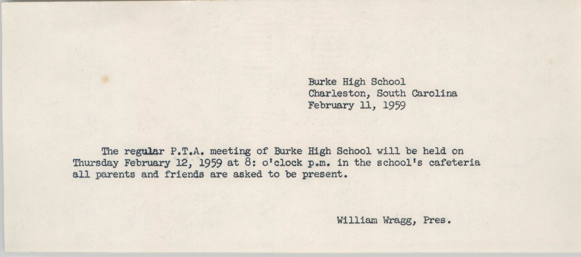 Burke High School Memorandum, February 11, 1959