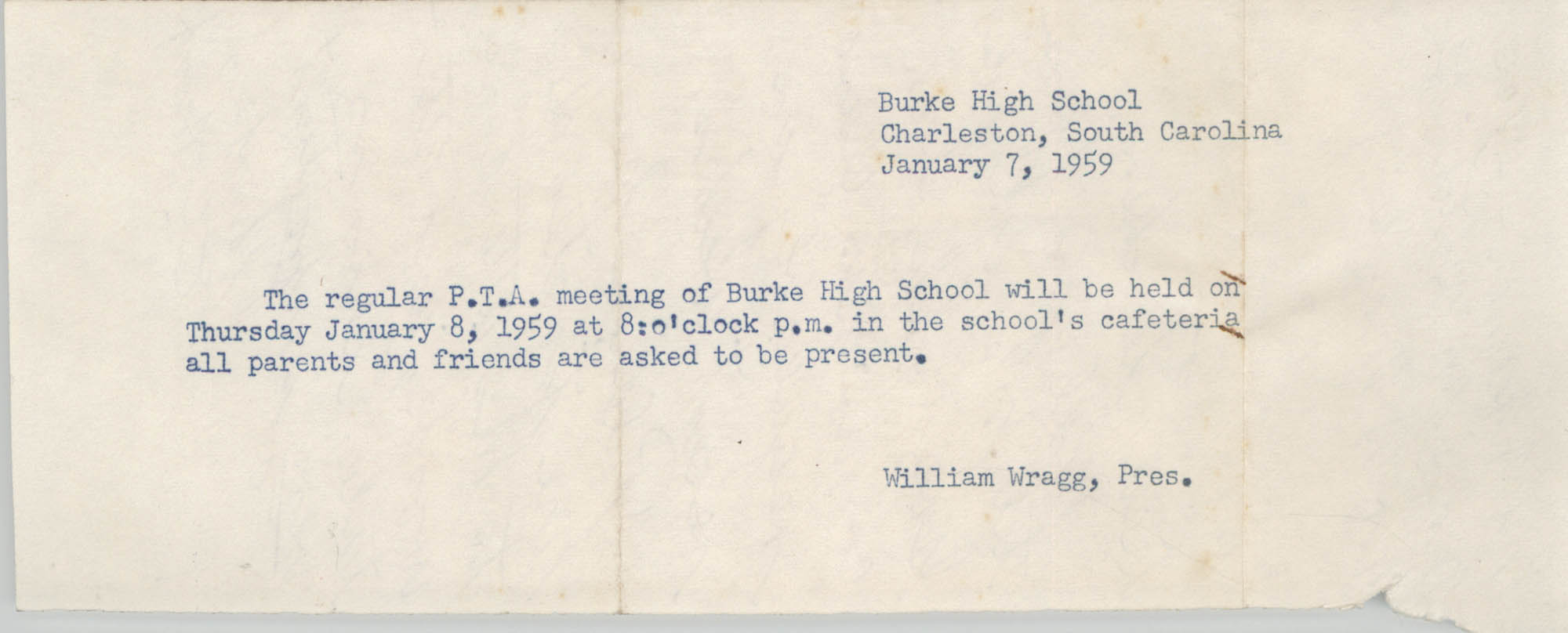 Burke High School Memorandum, January 7, 1959