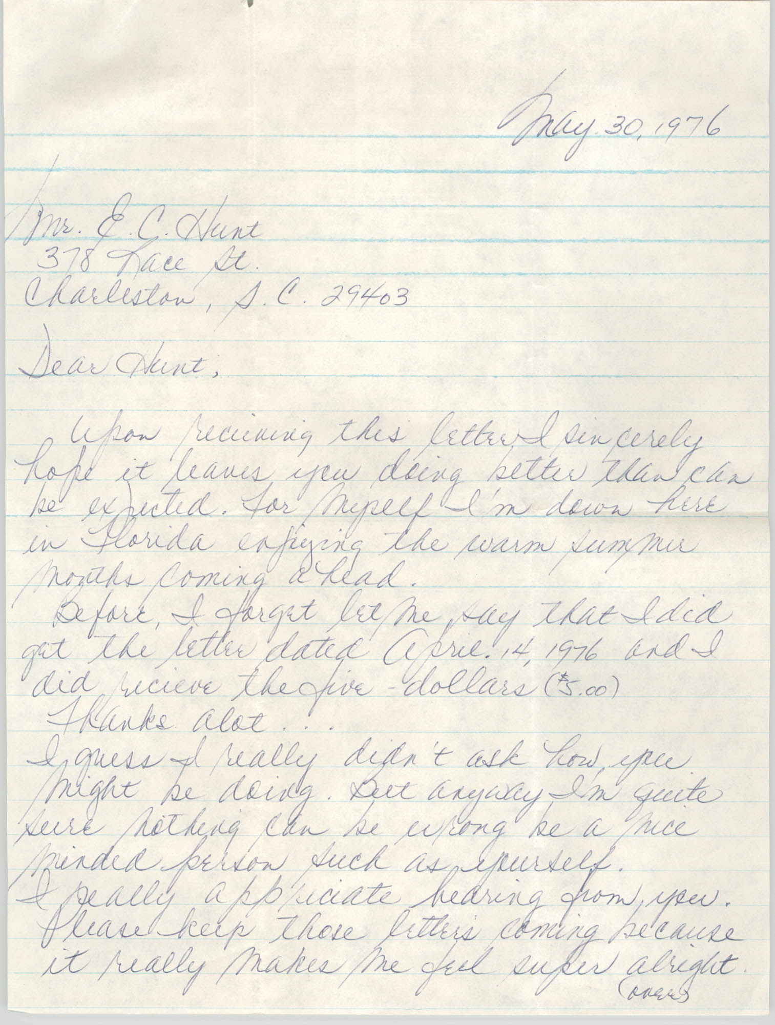 Letter to Eugene C. Hunt, May 30, 1976