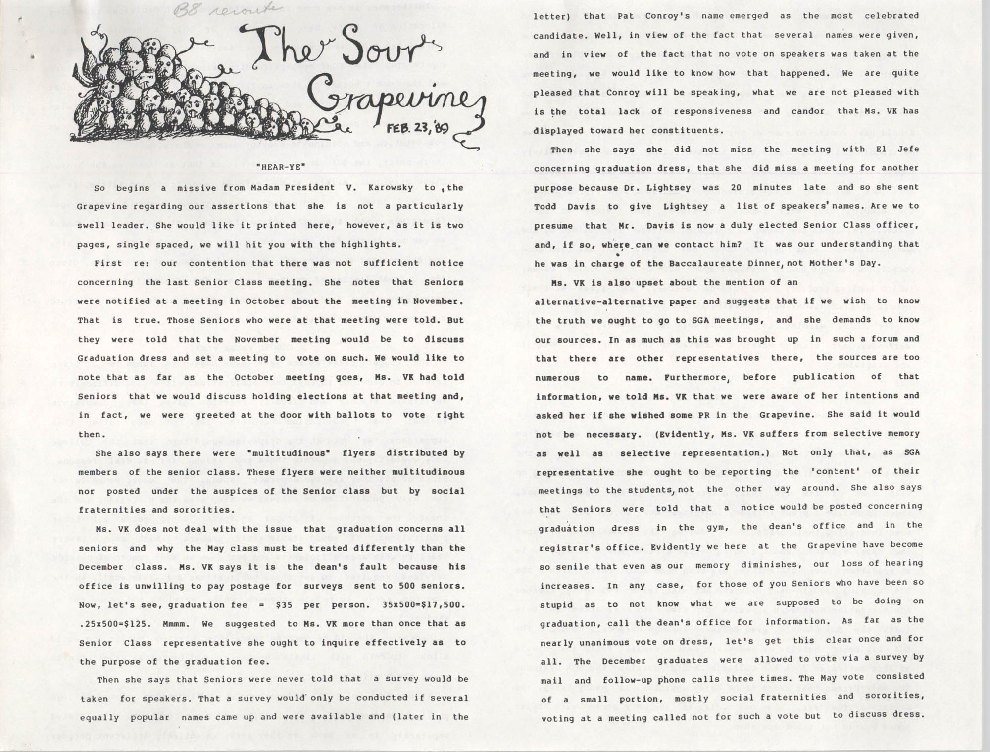 The Sour Grapevine, February 23, 1989