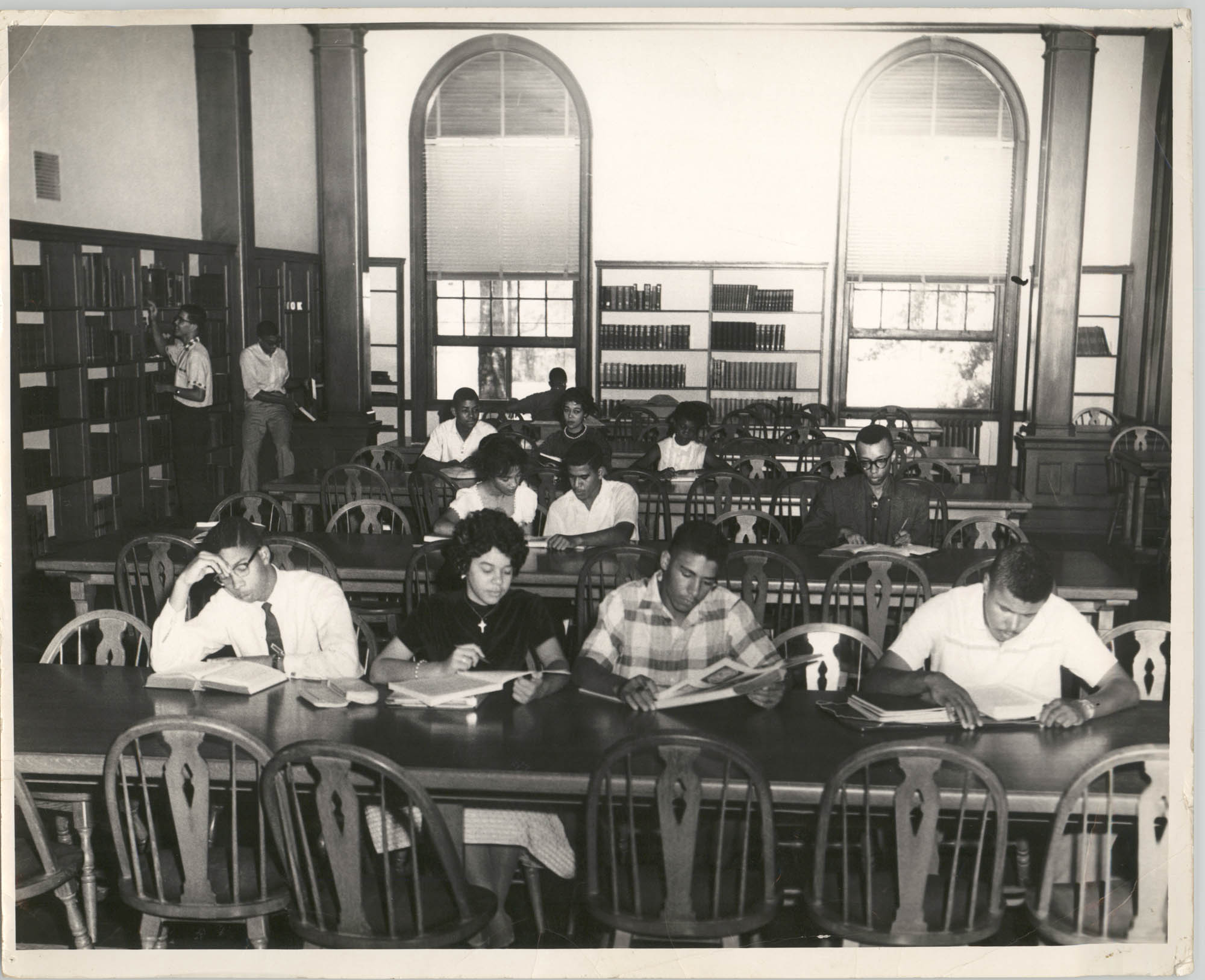 Photograph of Students at Talladega College Library