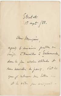 Letter from Jules Massenet to Meltzer, September 9,1888
