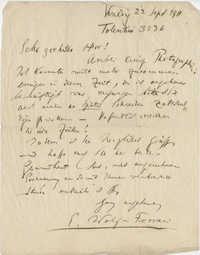Letter from Wolf-Ferrari to Meltzer, September 22, 1911