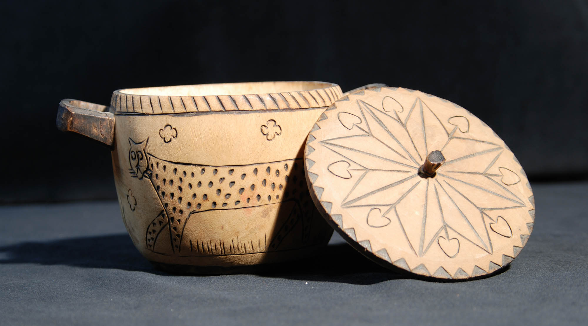 Decorated wooden container
