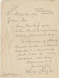 Letter from Edward Elgar to Meltzer, April 4, 1916
