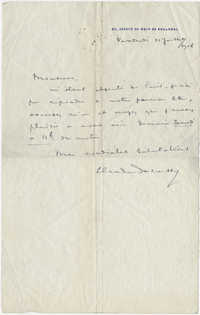 Letter from Claude Debussy to Meltzer, July 31, 1907