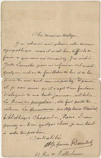 Letter from Alphonse Daudet to Meltzer