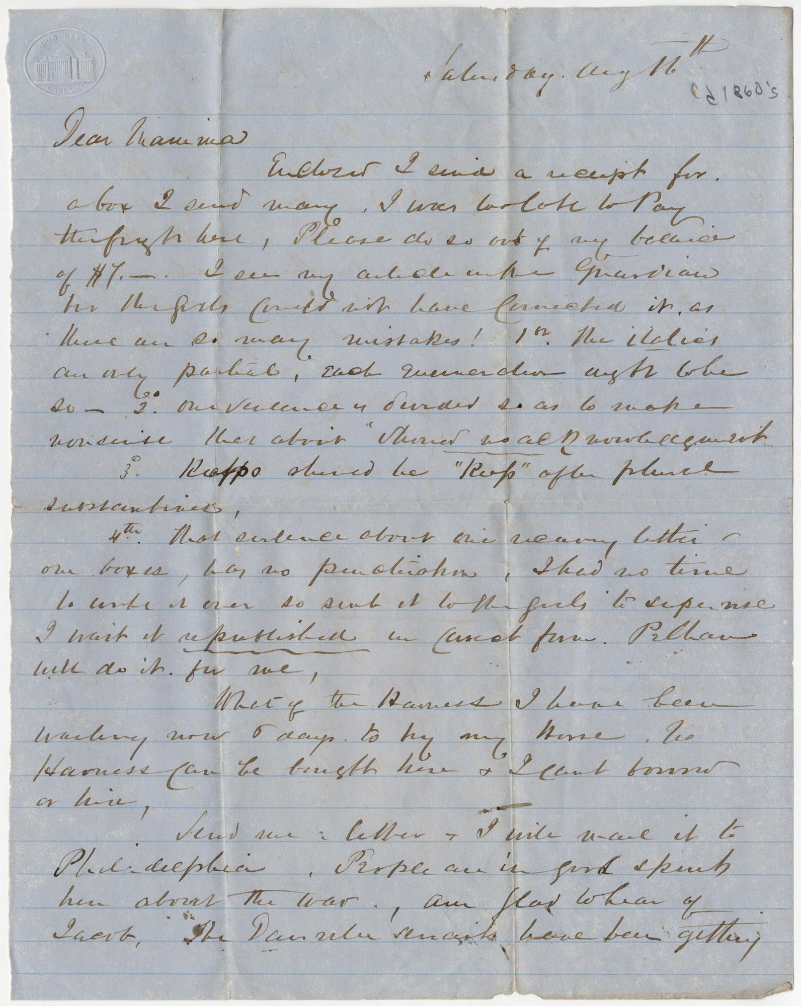 382.  Robert Woodward Barnwell to Catherine Osborn Barnwell  -- ca. 1862