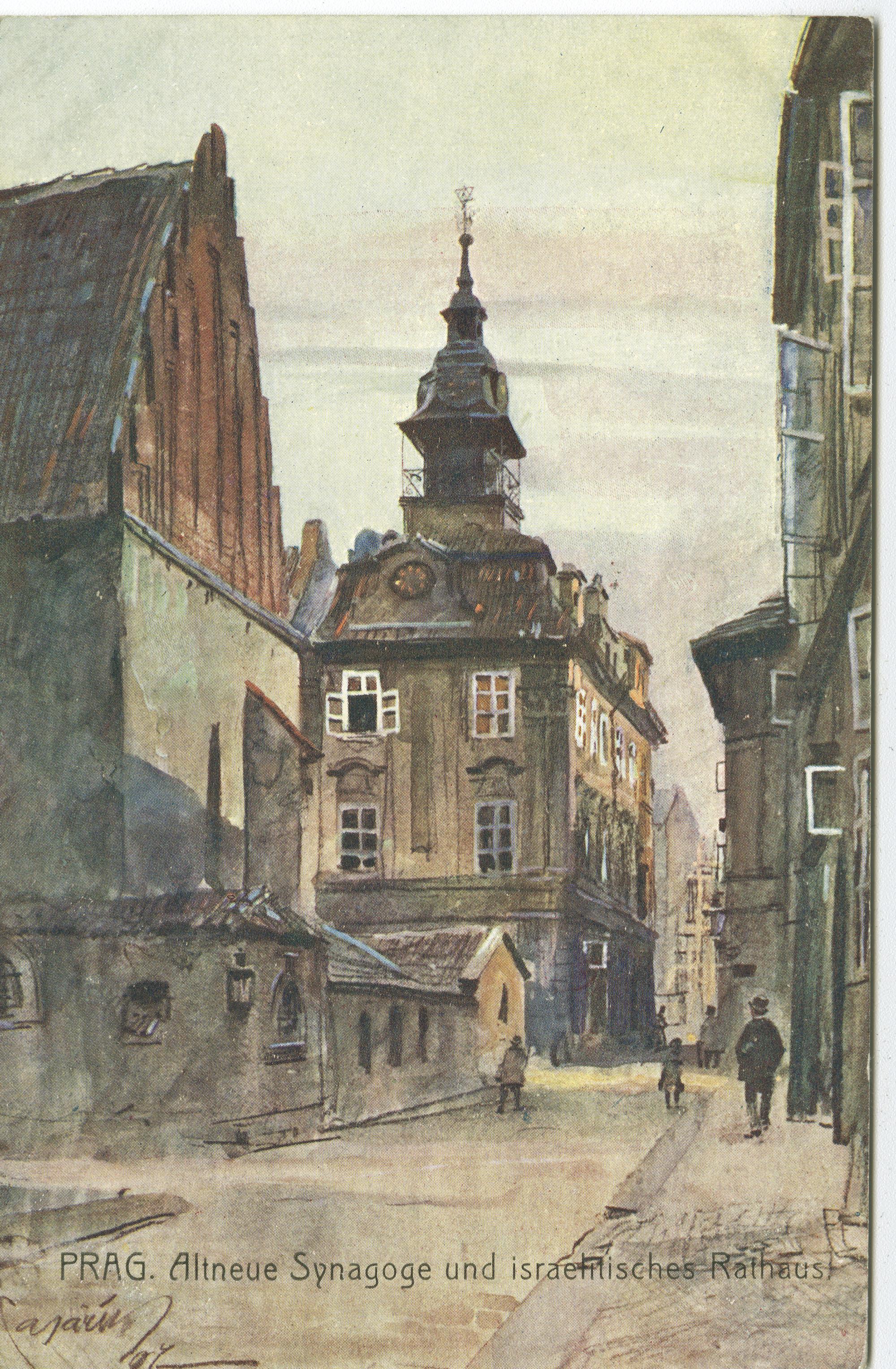 Prag. Altneue Synagoge und israelitisches Rathaus.