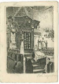 Praha. Staronová synagoga. Vnitřní pohled (Oltář) původní lept.