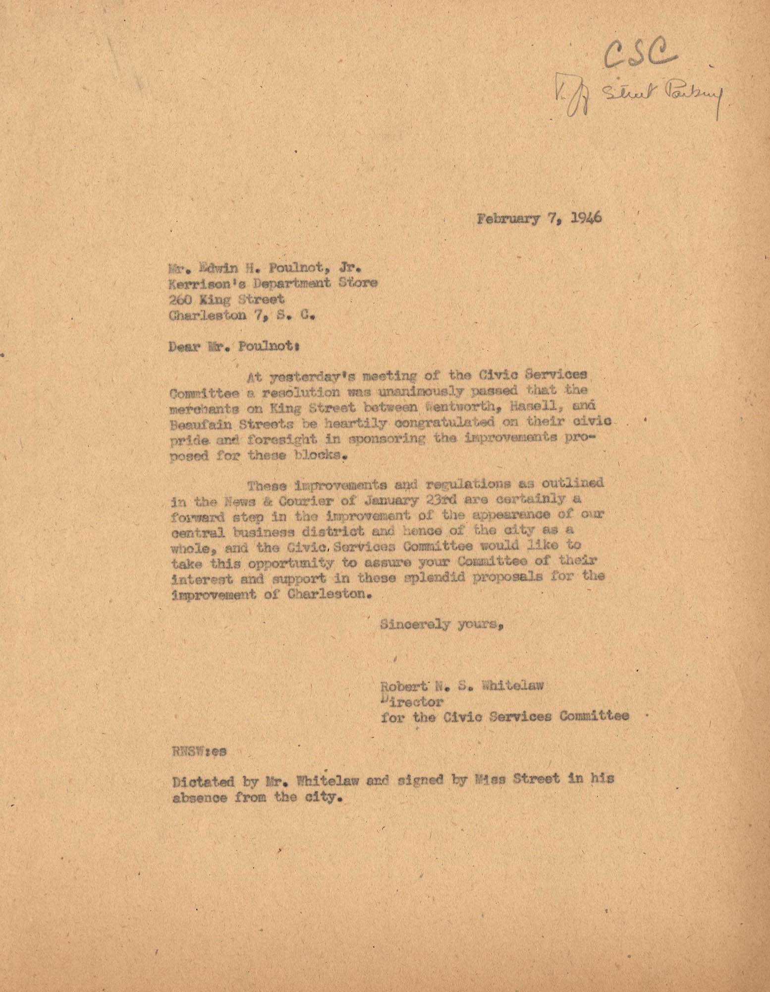Folder 39: Whitelaw Letter 9