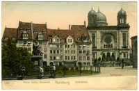 Nürnberg. Hans Sachs-Denkmal. Spitalplatz. Synagoge.