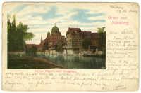 Gruss aus Nürnberg. An der Pegnitz (mit Synagoge).