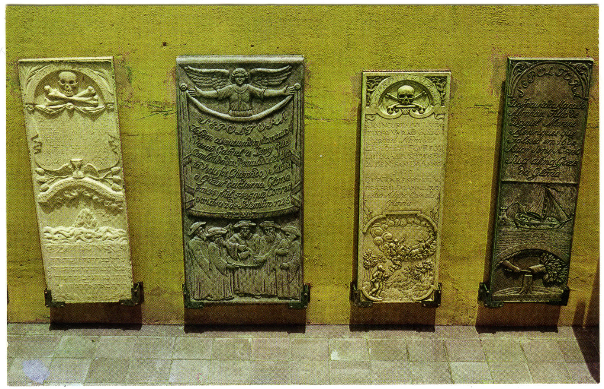 Partial view of the patio of the Jewish Cultural Historical Museum, showing replicas of four of the beautifully carved tombstones in the historic Bet Hayim cemetery, consecrated in 1659, the oldest in the Western Hemisphere.