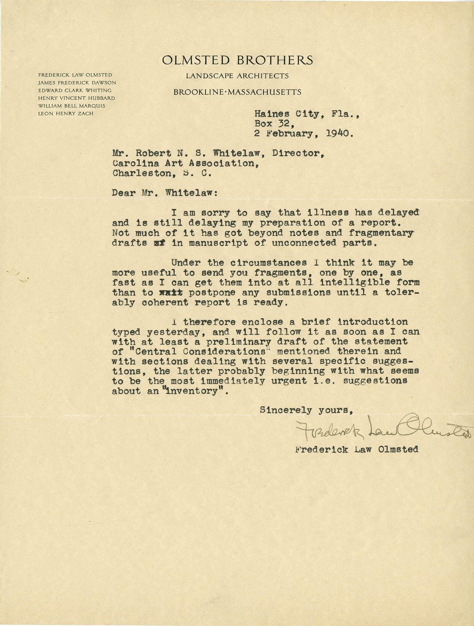 Folder 20: Olmsted Letter 7
