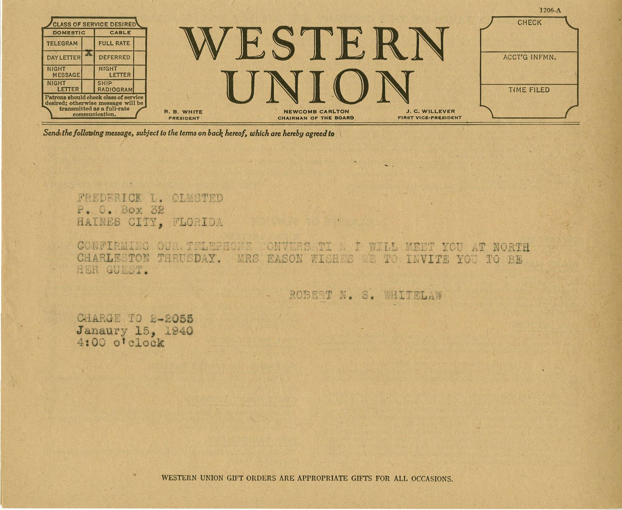 Folder 20: Olmsted Letter 6