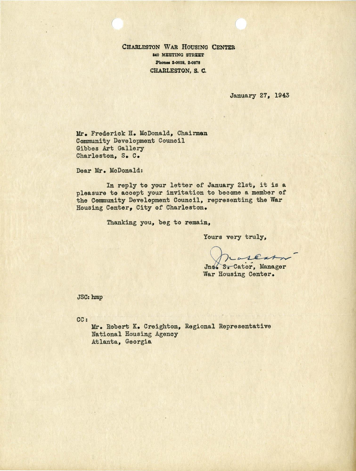 Folder 32: Cator Letter