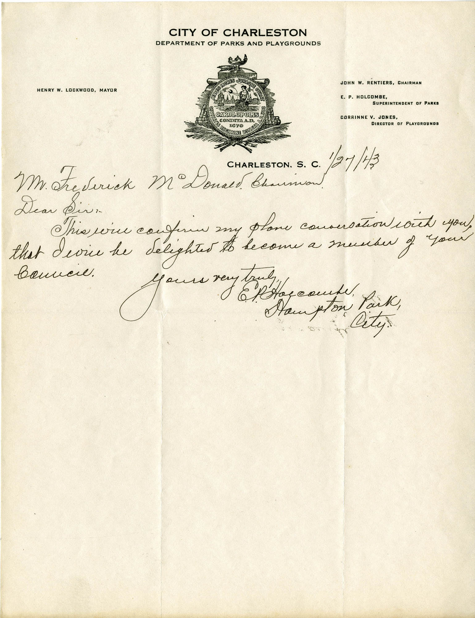Folder 32: Holcombe Letter