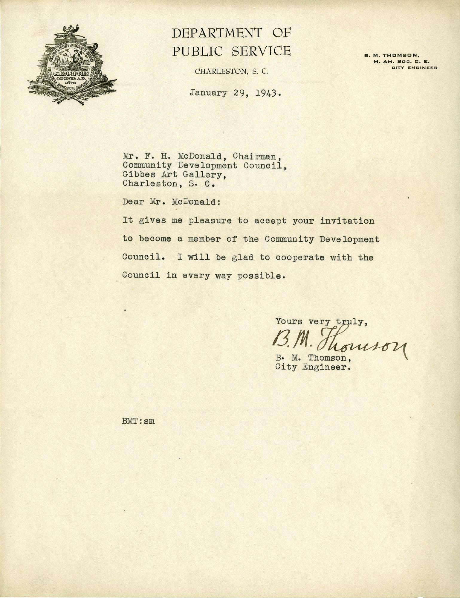 Folder 32: Thomson Letter