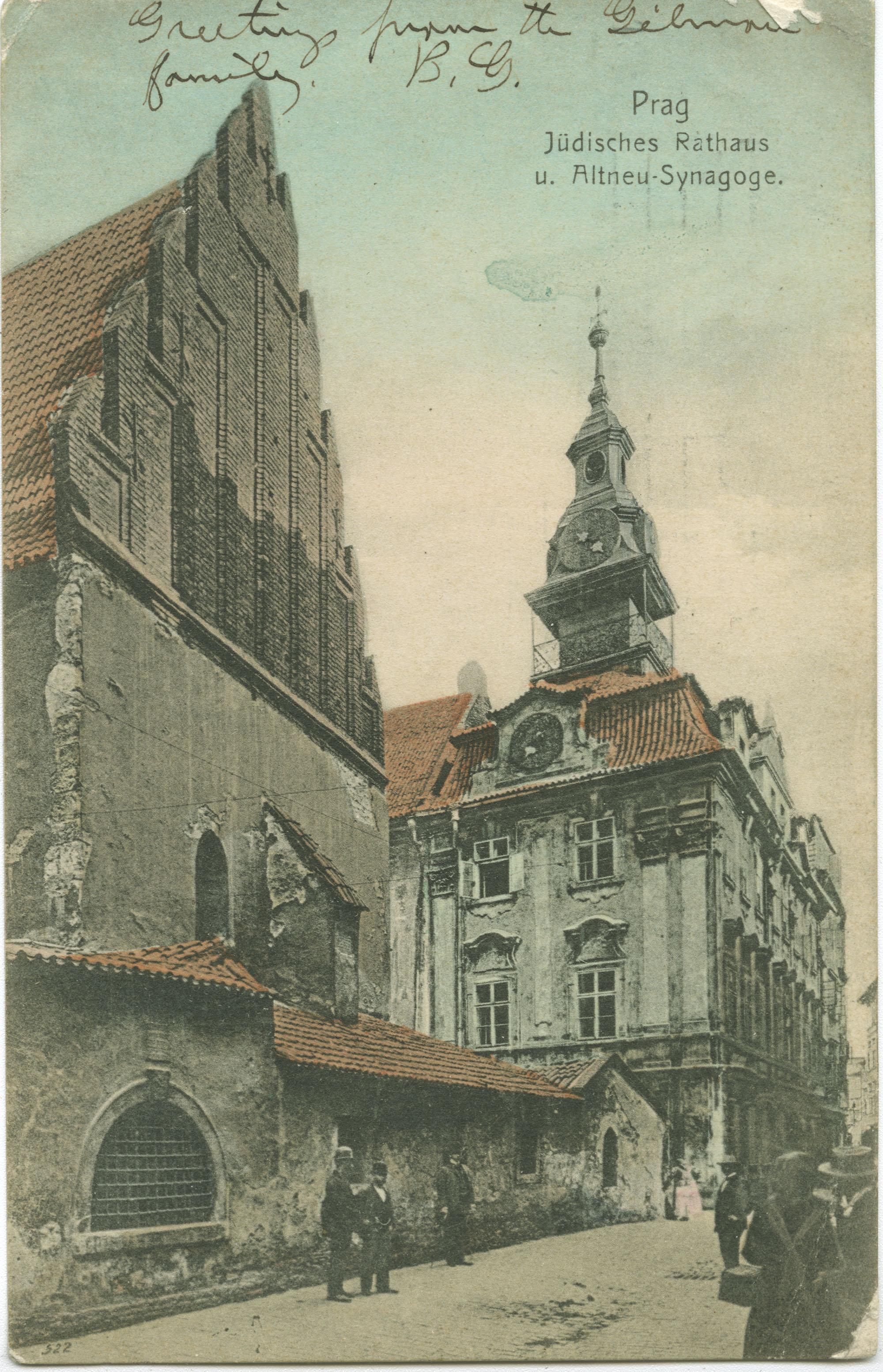 Prag Jüdisches Rathaus u. Altneu-Synagoge.