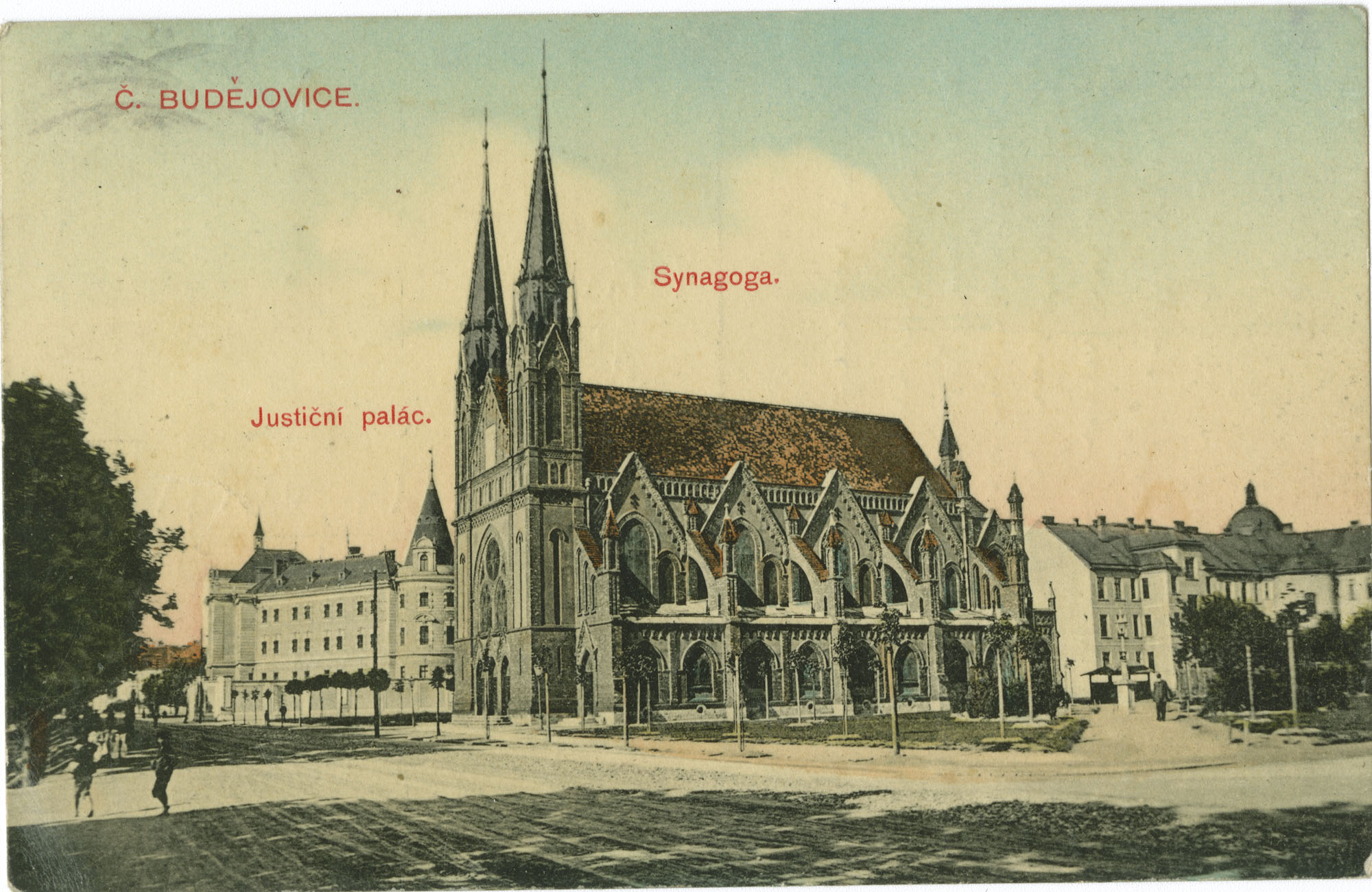Č. Budějovice. Justiční palác. Synagoga.