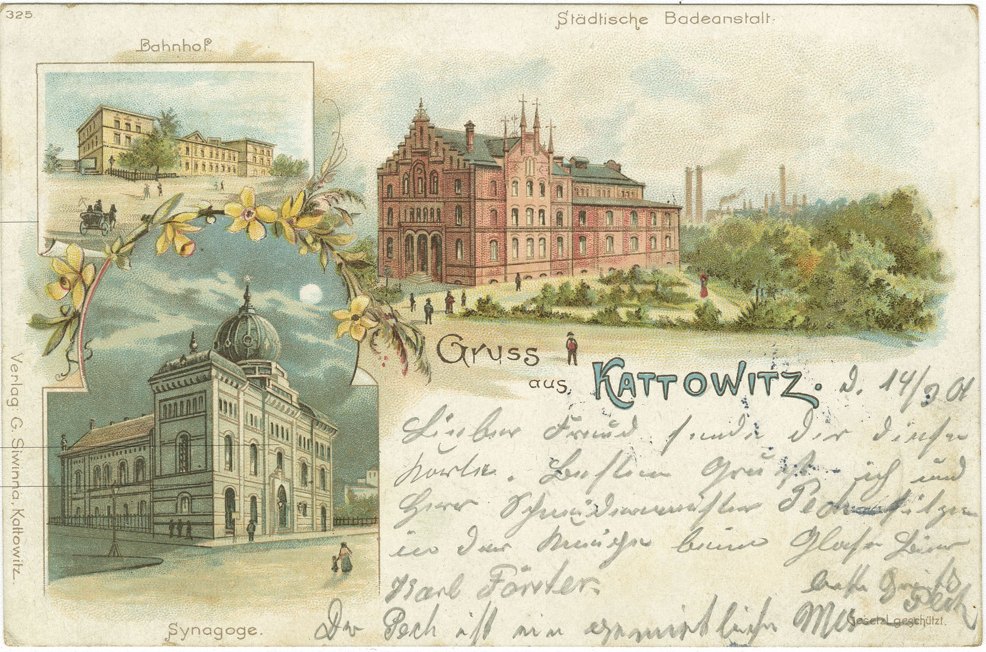 Gruss aus Kattowitz. Synagoge.