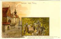 Das Prager Ghetto. Die Alt-Neue-Schule und das Rathaus. Alter jüdischer Friedhof - ruhestätte von vielen Generationen. Seit 1787 nicht mehr benutzt.