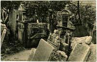 Prag. Partie aus dem alten Judenfriedhof.