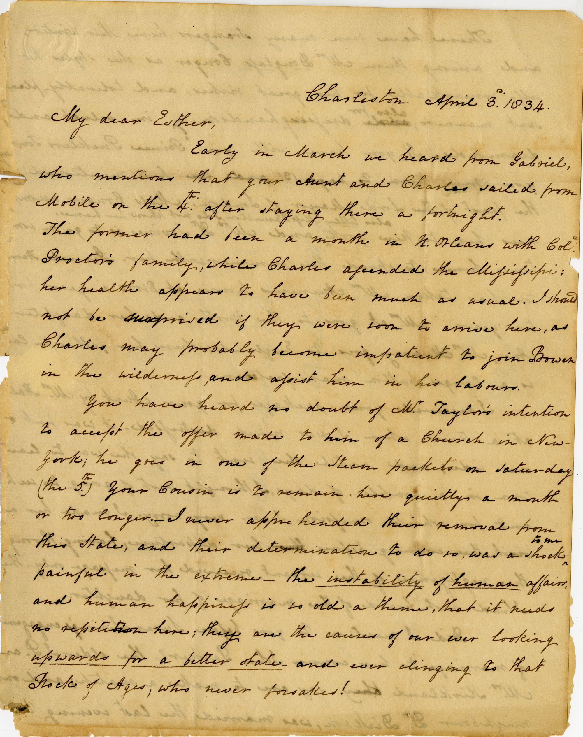 Letter from Charlotte Manigault to Esther Gibbes, April 1834