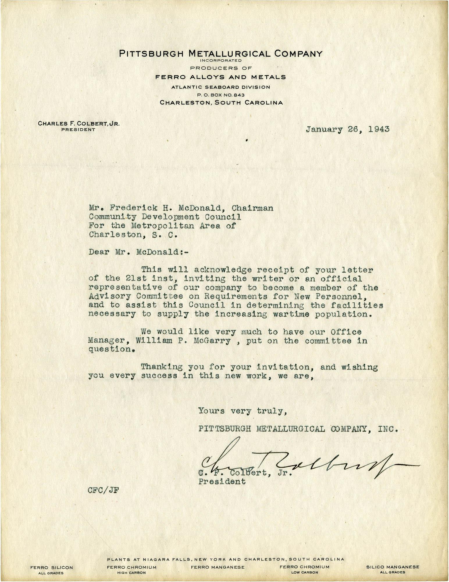Folder 32: Colbert Letter