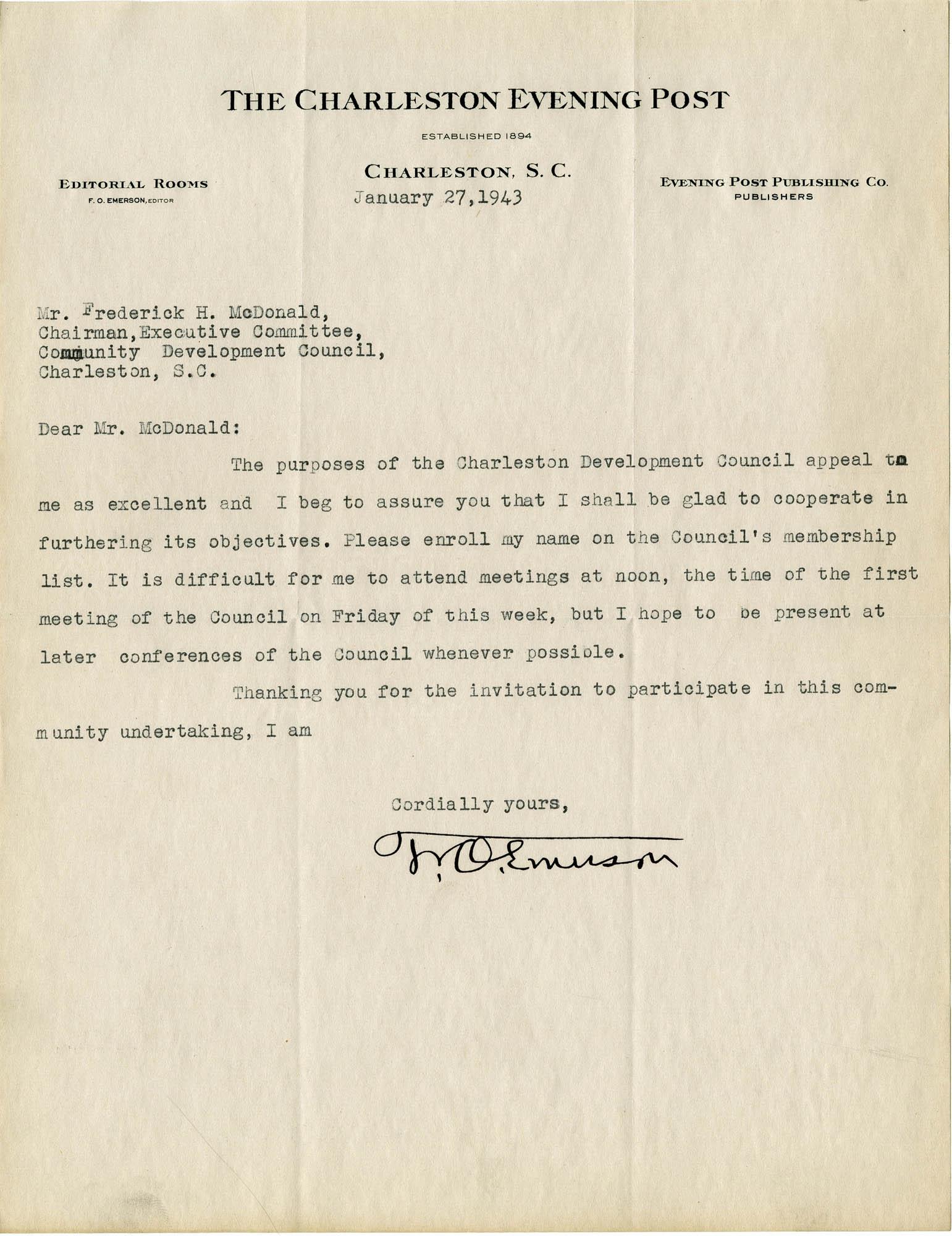 Folder 32: Emerson Letter
