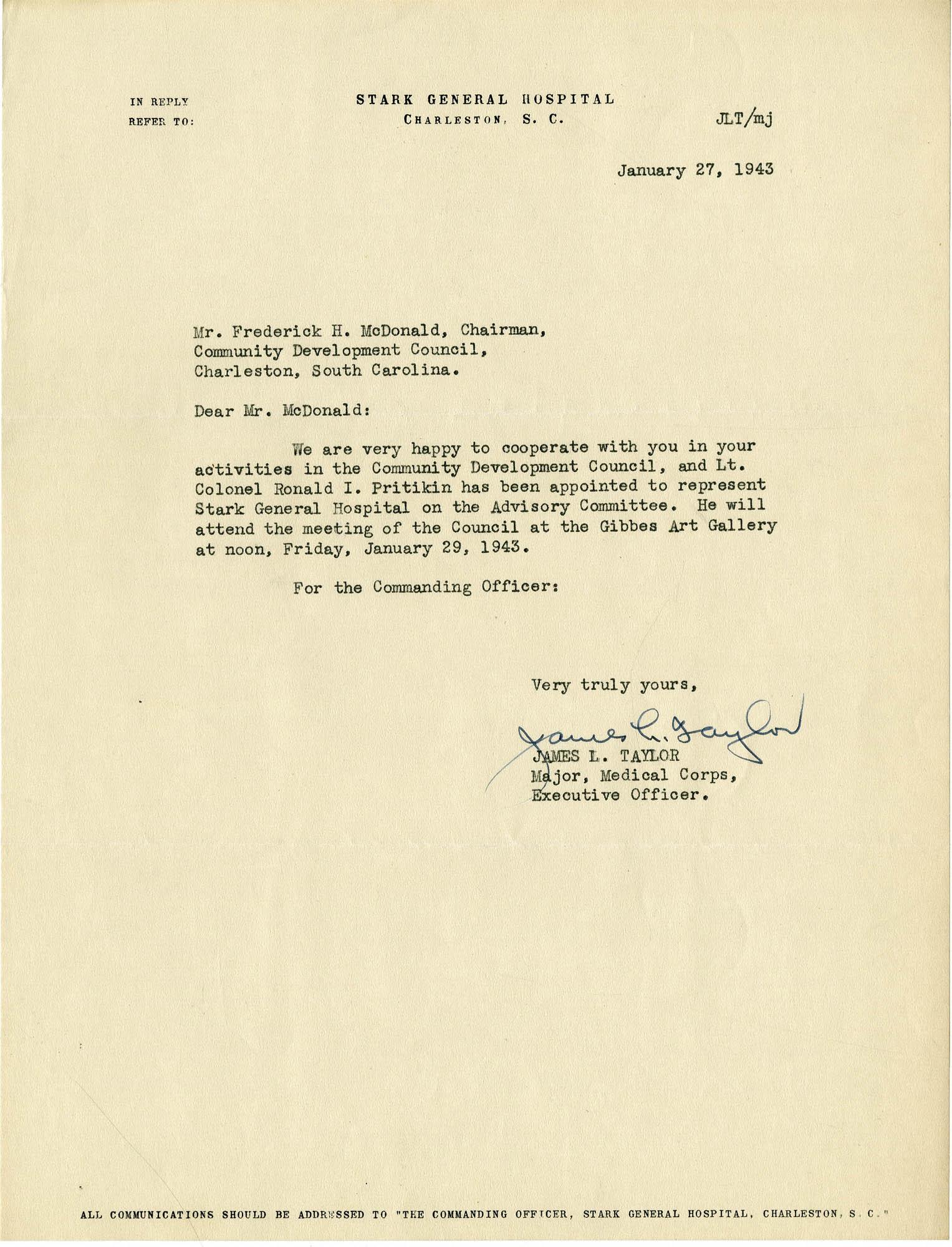 Folder 32: Taylor Letter