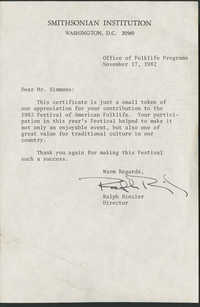 Letter from Ralph Rinzler to Philip Simmons