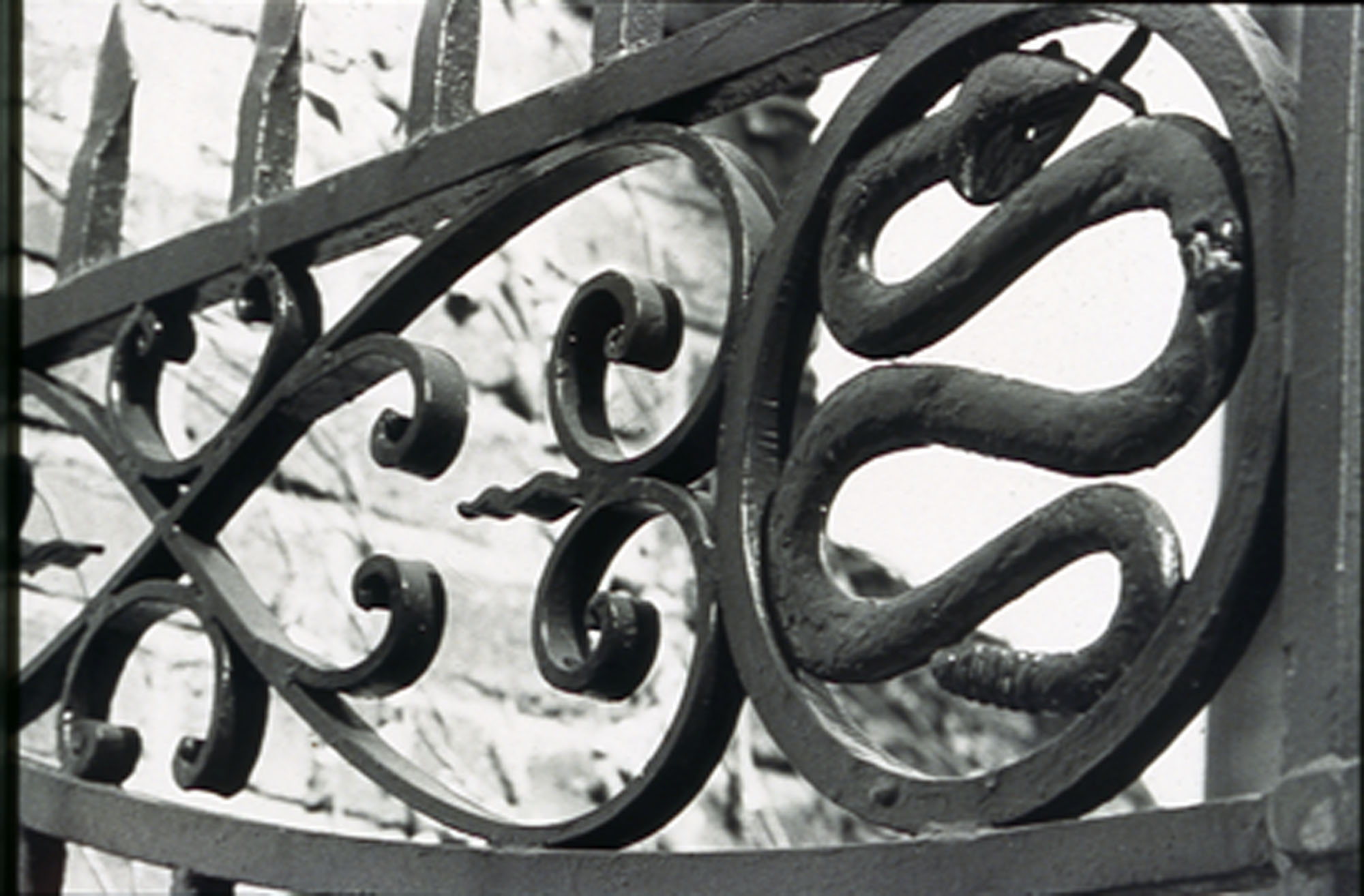 Photograph of detail of gate at the Christopher Gadsden house.