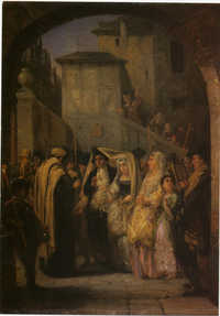 Moritz Oppenheim, German, 1800-1882. A Jewish Wedding, 1861.