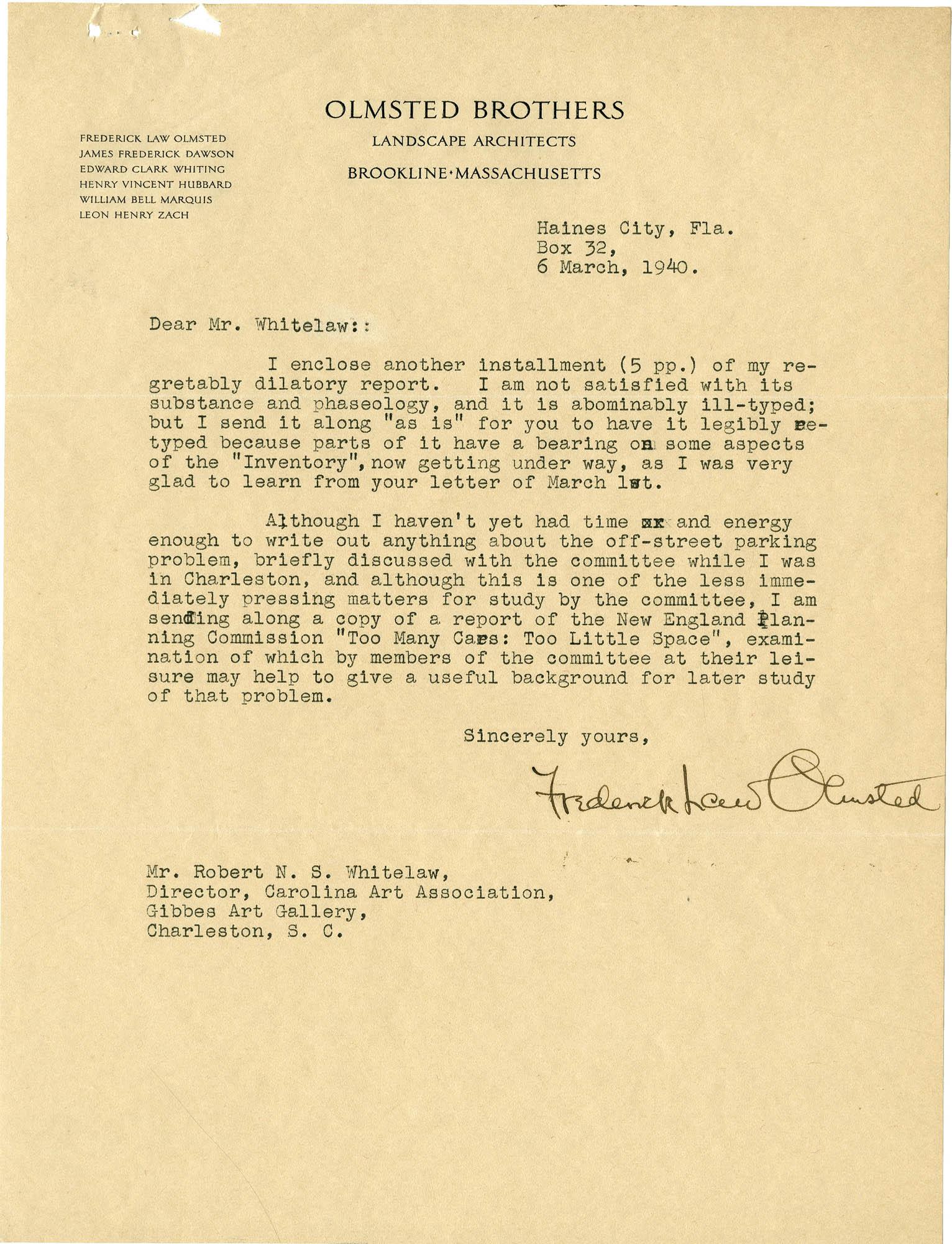 Folder 20: Olmsted Letter 12