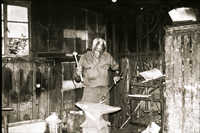 Philip Simmons working in his workshop.