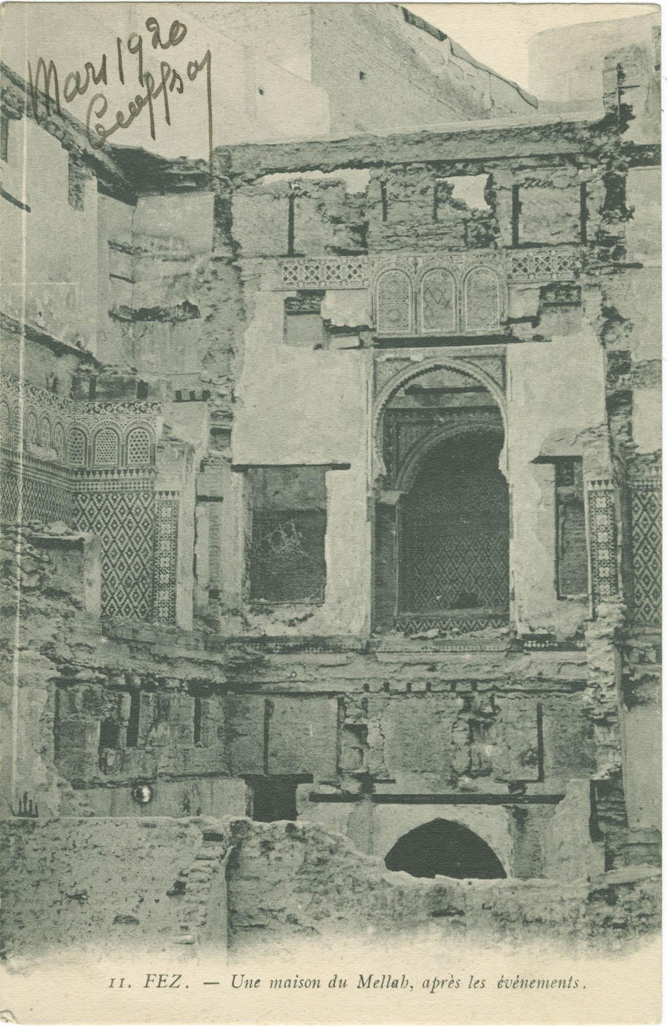 FEZ. - Une maison du Mellah, après les événements.