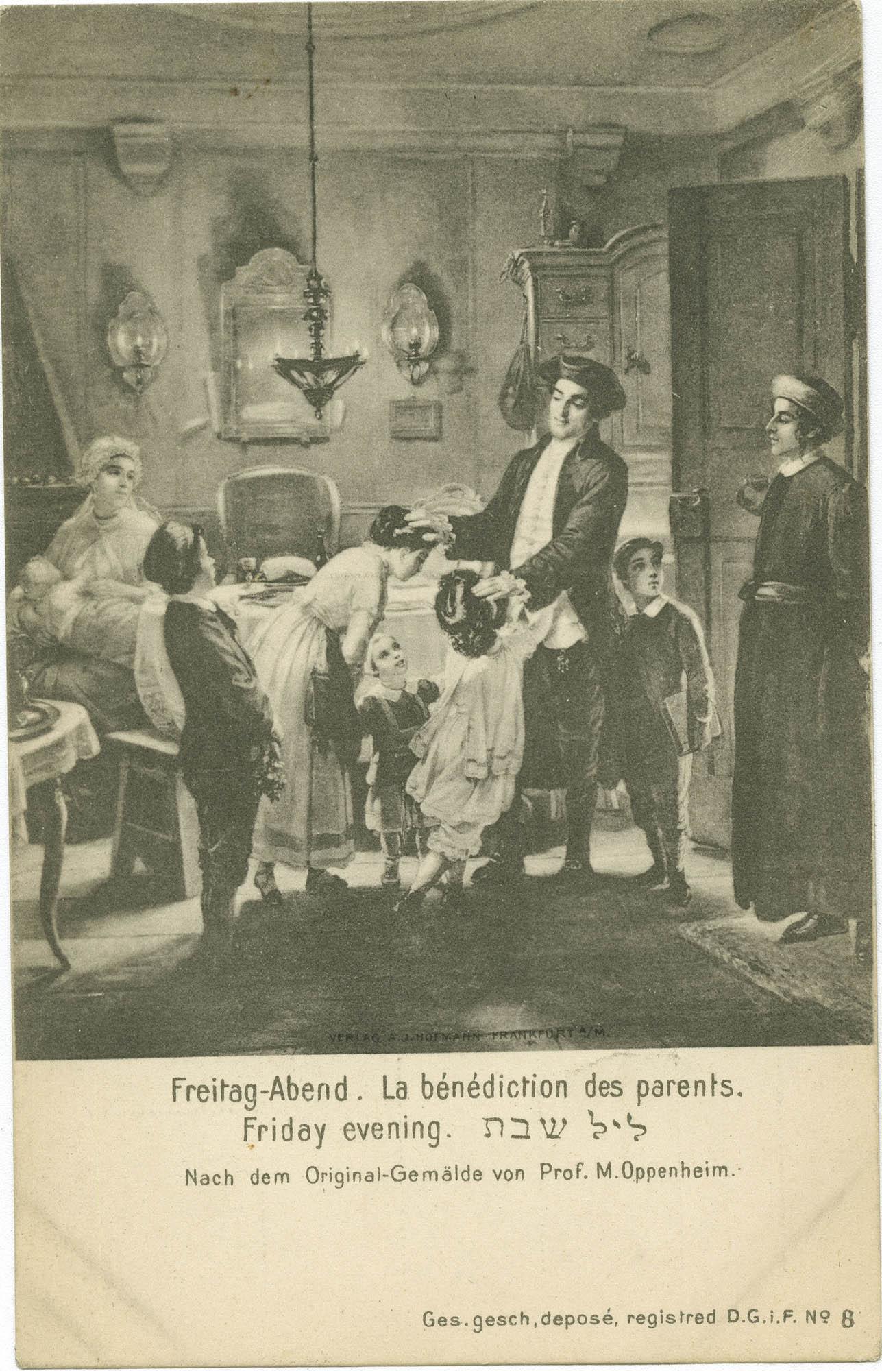 Frietag-Abend. / La bénédiction des parents. / Friday evening. / ליל שבת