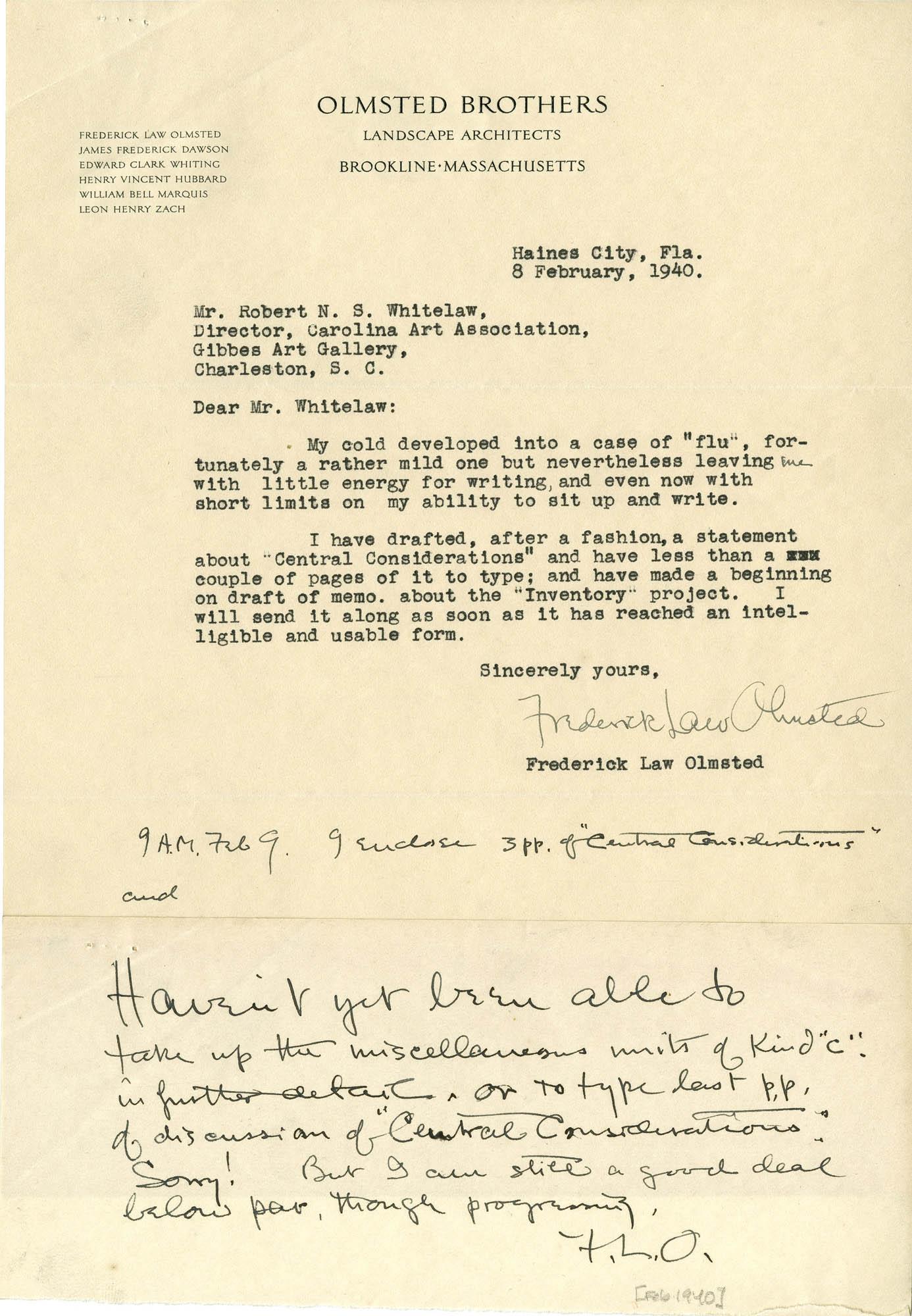 Folder 20: Olmsted Letter 8