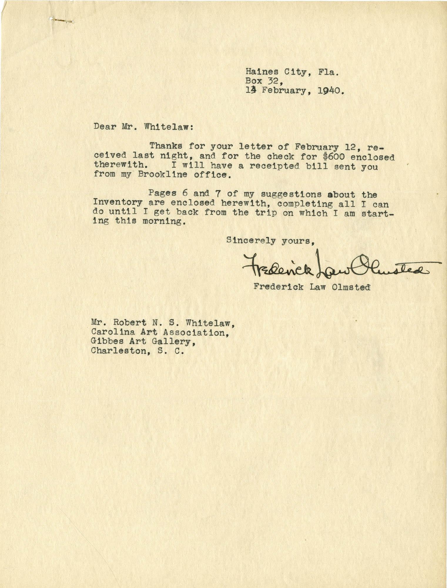 Folder 20: Olmsted Letter 11