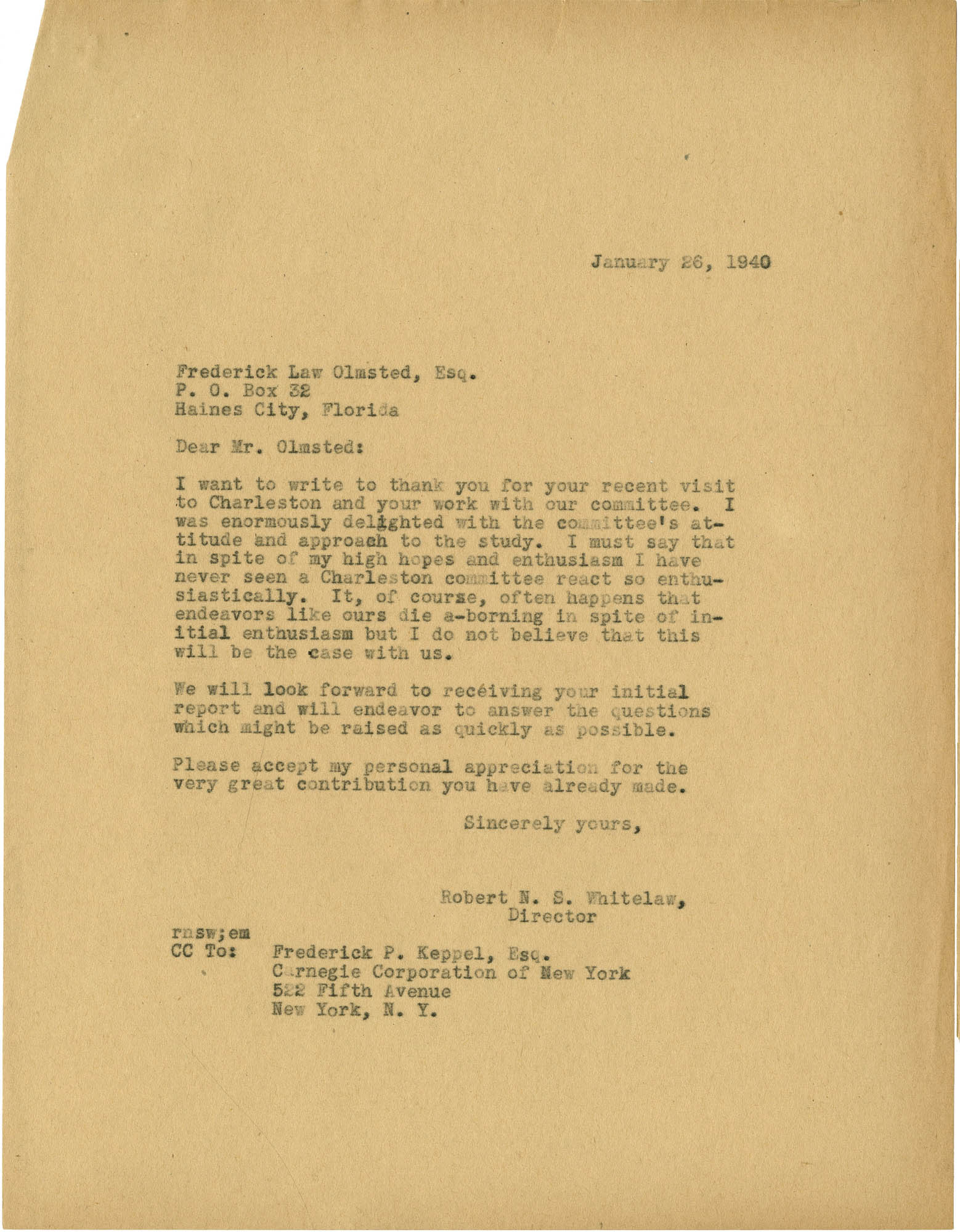 Folder 20: Whitelaw Letter 6