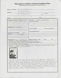 Historic Charleston Foundation information sheet for Philip Simmons Documentation Project