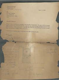 Letter regarding gate for 14 Menotti Street with sketch.