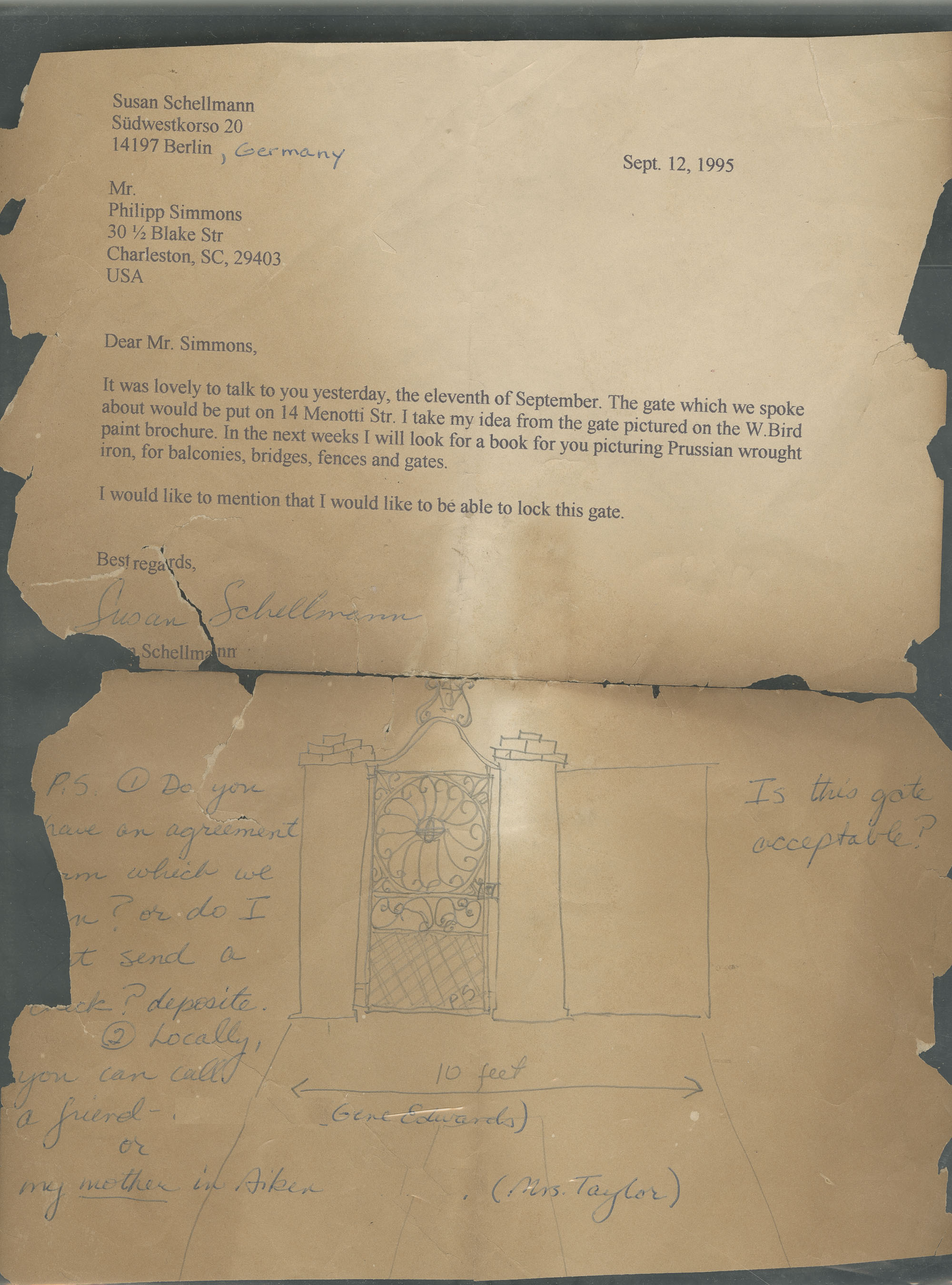 Letter regarding gate for 14 Menotti Street with sketch.